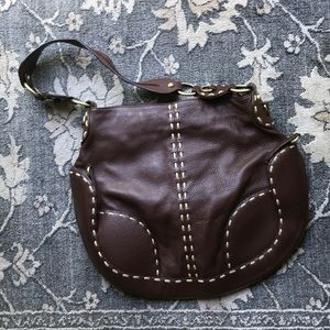 Cromia Italian Leather Brown Handbag